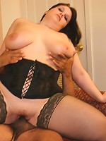 Cute BBW takes on two dudes at once!
