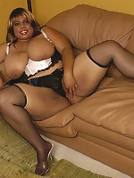 Big titted black BBW takes a load all over her giant rack!