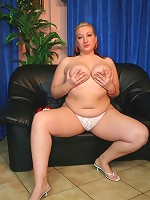 Blonde BBW loves having her big tits squeezed!