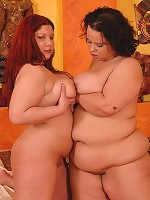Pair of big titted BBWs finger each other's snatches!
