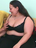 His BBW lover with her big belly and her huge natural tits takes all of his cock
