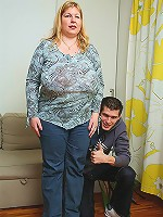 A trip to the mall lands him this horny blonde BBW and he drills her cunt hard on his couch