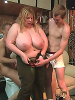 BBW party girl rides him lustily