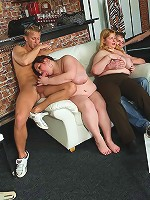 Group sex with cock riding fat chick