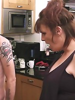 Glam blonde fattie in striking lingerie seduces husband into fingering her snatch