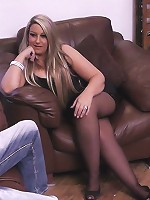 Smooth blonde fattie in black stockings waits till wife leaves and does hubby