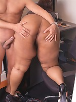 Sizzling hot black BBW secretary gets boss to eat and pound her dripping holes