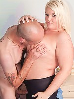 Sultry BBW blonde catches a married guy stroking meat and seduces him into sex
