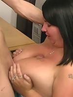 Fattie sucks and fucks cock