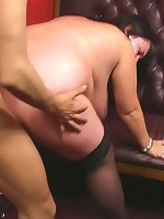 Thick BBW brunette stripped and nailed right on the bar counter by a horny patron