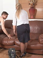 Cute fat salesgirl fucked by client after she seduced him with her looks and stockings