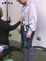 Lovely black BBW seduces a job applicant and rides his fat shaft right in the office