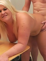 Chubby young blonde with amazing tats and a huge rack seduces her horny boss
