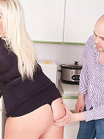 Hot blonde fattie hired as maid and ended up taking the employers cock from all angles