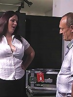Dirty young fattie gets a sex bribe from a guy who wants to get backstage
