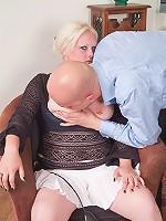 Busty plumper milks cock