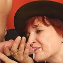 Two dicks are trying to get inside the mature slut and she is happy to entertain them both
