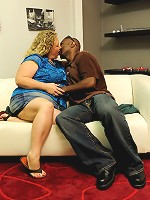 BBW exposed her oversized chest for strange black man to stare at and play with