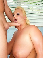 Click and watch Anna show off that amazing BBW body. Click and watch her suck some mean dick. Click and watch her gigantic breasts flop as she rides our man like a jackhammer.